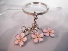 Sakura Cherry Blossom Keyring Chrome Metal Keychain Gift Boxed BRAND NEW