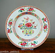 Antique Chinese Porcelain Plate Famille Rose 18th Century Export Qianlong 8.75""