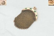 RARE VICTORIAN IRISH 15ct SOLID ROSE GOLD PURSE with ENAMELLED SHAMROCKS 23.6 g