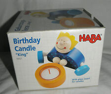 "NIB HABA Birthday Candle ""King"" Wooden Party Celebration Holder Cake Table NEW"