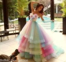 Colorful Puffy Tiered Tulle Prom Party Strapless Floral Princess Ball Gown Dress