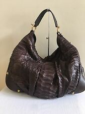 $3,550 GUCCI Brown Python Large Jockey Hobo Handbag Bag