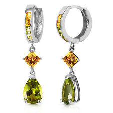 5.15 Carat 14K Solid White Gold Huggie Earrings Dangling Peridot Citrine