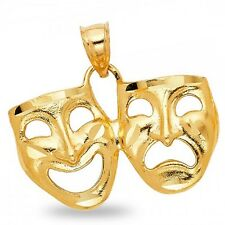 Drama Mask Pendant Solid 14k Yellow Gold Laugh Now Cry Later Two Faced Charm