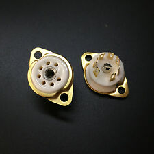 Ceramic 7PIN Vacuum Tubes Socket For 6Z4 EAA91 EC92 6X4 EF91 EZ90 Gold Plated