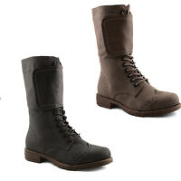 New Ladies Low Heel Military Combat Biker Army Lace Up Boots Size UK 3 4 5 6 7 8