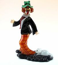 Clown in Vetro di Murano Glass H33cm Made in Italy Pagliaccio Scultura