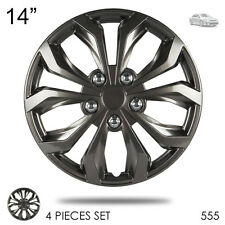 """New 14"""" Hubcaps ABS Gunmetal Finish Performance Wheel Covers Set For Toyota 555"""