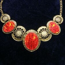Hand Carved Vintage Yellow Gold Filled Red Abalone Statement Necklace Jewelry