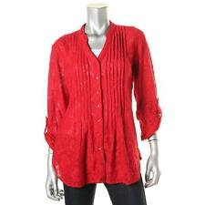 Style & Co. 4537 Womens Red Lace Button-Front Pintuck Blouse XL BHFO