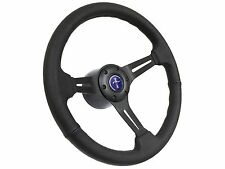 1984 - 2004 Ford Mustang Black Leather Steering Wheel Kit w/Blue Pony 3D Emblem