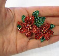 Gold Plated Christmas Red Poinsettia Rhinestone Crystal Holiday Pin Brooch NEW