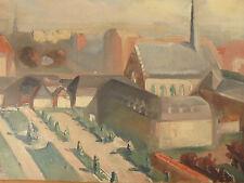 Maud Gérard 1915/2013 Paysage Cubiste Art déco Belgique Cachet Atelier Circa 40