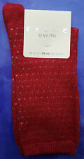 Falke Womens Cashmere Wool Socks UK 2.5-5 Micro Dot Red Calf Length RRP£16 Calf