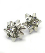 SILVER CHRISTMAS THEME BOW Silver Christmas Bow Stud Earrings