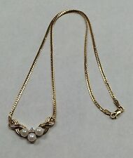 "VINTAGE 14K Yellow Gold 5mm Pearl and Diamond Necklace 16"" 5.1 Grams"