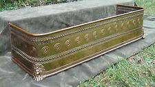 "42"" Antique 19thC Lion Head Pierced Brass Fireplace Fender Fire Screen Surround"
