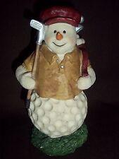 Snowman Resin Figurine w/Golf Club & Bag