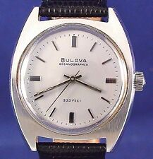 Bulova 1969 vintage Swiss 17j mechanical ss watch with new matched leather strap