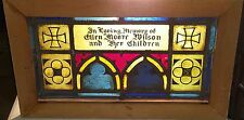 GOTHIC LEADED STAINED GLASS FRAMED MEMORIAL FROM AN OLD NEWARK NJ CHURCH