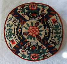 JAPANESE Imari PATTERN Vintage WOOL NEEDLEPOINT PILLOW Peony GARDEN Foliage MUMS