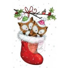 New Wild Rose Studio Clear cling rubber stamp BABY FOXES IN CHRISTMAS STOCKING