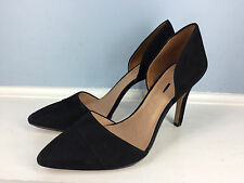 New $168 MADEWELL J CREW black suede leather d'orday heels pumps 11 Career Party