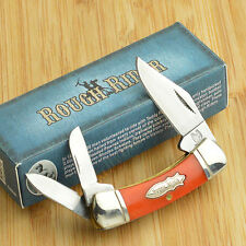 Rough Rider Orange Smooth Bone Small Canoe 440 Stainless Pocket Knife RR383