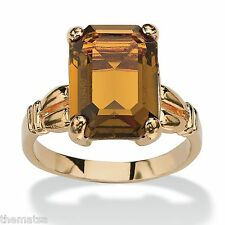 WOMENS 14K GOLD PLATED BIRTHSTONE EMERALD CUT CITRINE RING  SIZE 5 6 7 8 9 10