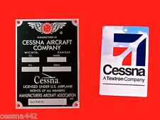 CESSNA Aircraft Company - DATA Tag OEM FACTORY Airplane Placard - NEW Old Stock