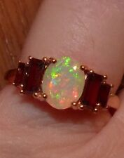 STUNNING RG 2.30 TCW  FACETED  ETHIOPIAN  OPAL & BAGUETTE GARNET RING SIZE 9