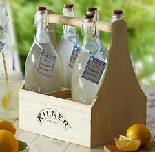 Kilner Wooden Bottle Caddy / Wine Holder / Crate / Rustic Wood Beer Carrier