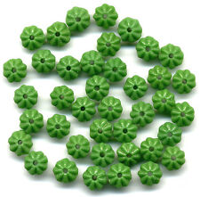 Vintage Flower Beads 6mm Forest Green Rondelle Spacers 48 Pcs.