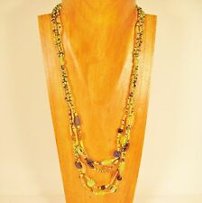 "26"" Classic Vintage Multi Strand Green/Gold Handmade Seed Bead Necklace"