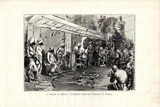 S.P.HALL - A DURBAR AT BOMBAY - WOOD ENGRAVING FROM 'THE PRINCE'TOUR' (1877)