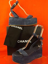 15S NIB CHANEL DARK BLUE SUEDE GOLD CC WEDGE LOGO PLATFORM SANDALS 39.5 $875