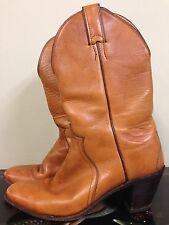 JUSTIN - Vtg 70s-80s Womens Tan Leather Western Cowgirl Cowboy Boots, Sz 7 A