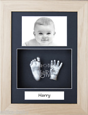 New Baby Handprint Footprint Hand Feet 3D Casting Kit Solid Oak Box Frame Silver