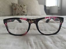 Betsey Johnson Squared Black Floral Print Reading Glasses 1.5 Readers