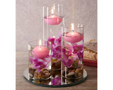 glass mirror decorative table feature lilac floating candle pebbles flower set