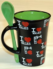 """I LOVE WALES"" design black LATTE MUG with SPOON  , Cymru, Welsh"