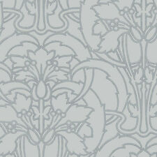 Arts and Crafts Style Gray on Silver Wallpaper DOUBLE ROLL FREE SHIPPING