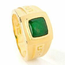 ShopNBC Lambert Cheng 24K Imperial Jade Gold Greek Key Band Ring Men Women