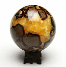 1103g 90mm Polished DRAGON SEPTARIAN sphere Crystal w/Rosewood Stand Madagascar