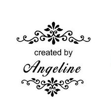 New Round Self-Inking Rubber Stamp with created by- can customize with your name