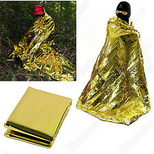 Emergency Waterproof Thermal Survival Blanket Rescue First-Aid Camp Tent Gold