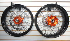 "ORANGE CUSH HUB ON BLACK 17"" SUPERMOTO WHEELS KTM  ALL WITH 320 BRAKE ROTOR"