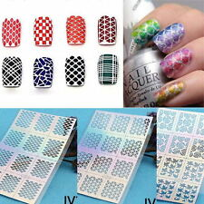 1 Sheet Nail Art Manicure Stencil Stickers Stamping Vinyls Easy Use Color Random