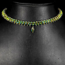 Sterling Silver 925 Pear Cut Genuine Mystic Topaz Necklace 18 to 19.5 Inches
