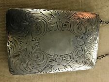 Antique Sterling Silver Embossed LADIES DANCE Coin Purse Powder Wallet